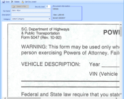 Document Management Form Screenshot