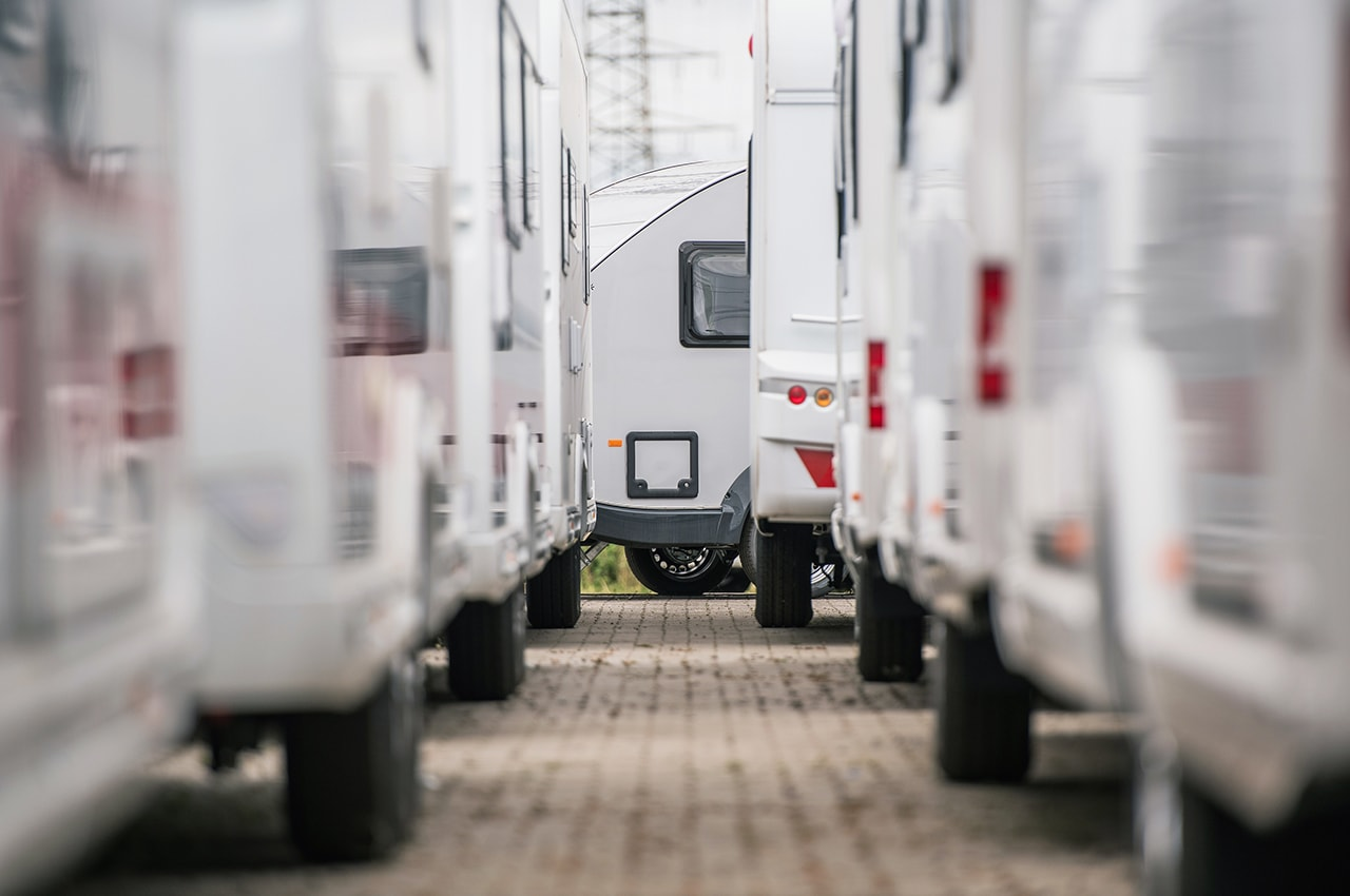 Row Of RVs And Trailers