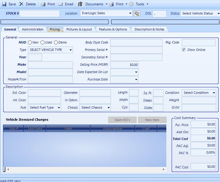 EverLogic DMS Vehicle Inventory Screen