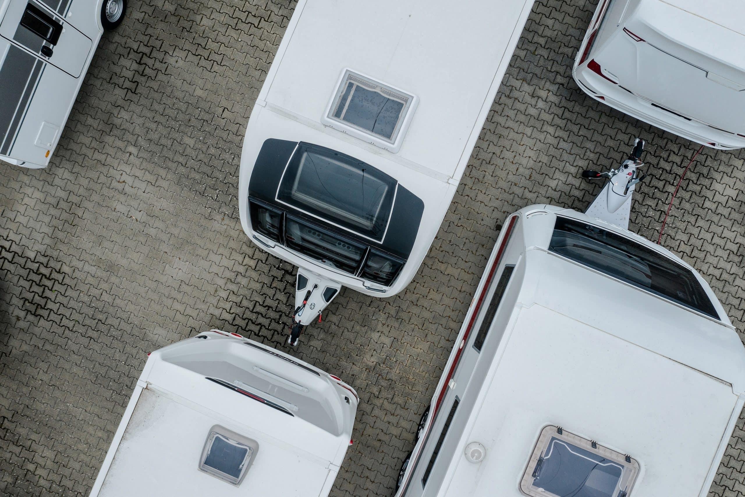 Birdseye View Of Trailers And Motorhomes