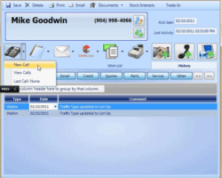 Customer Activity History Screenshot