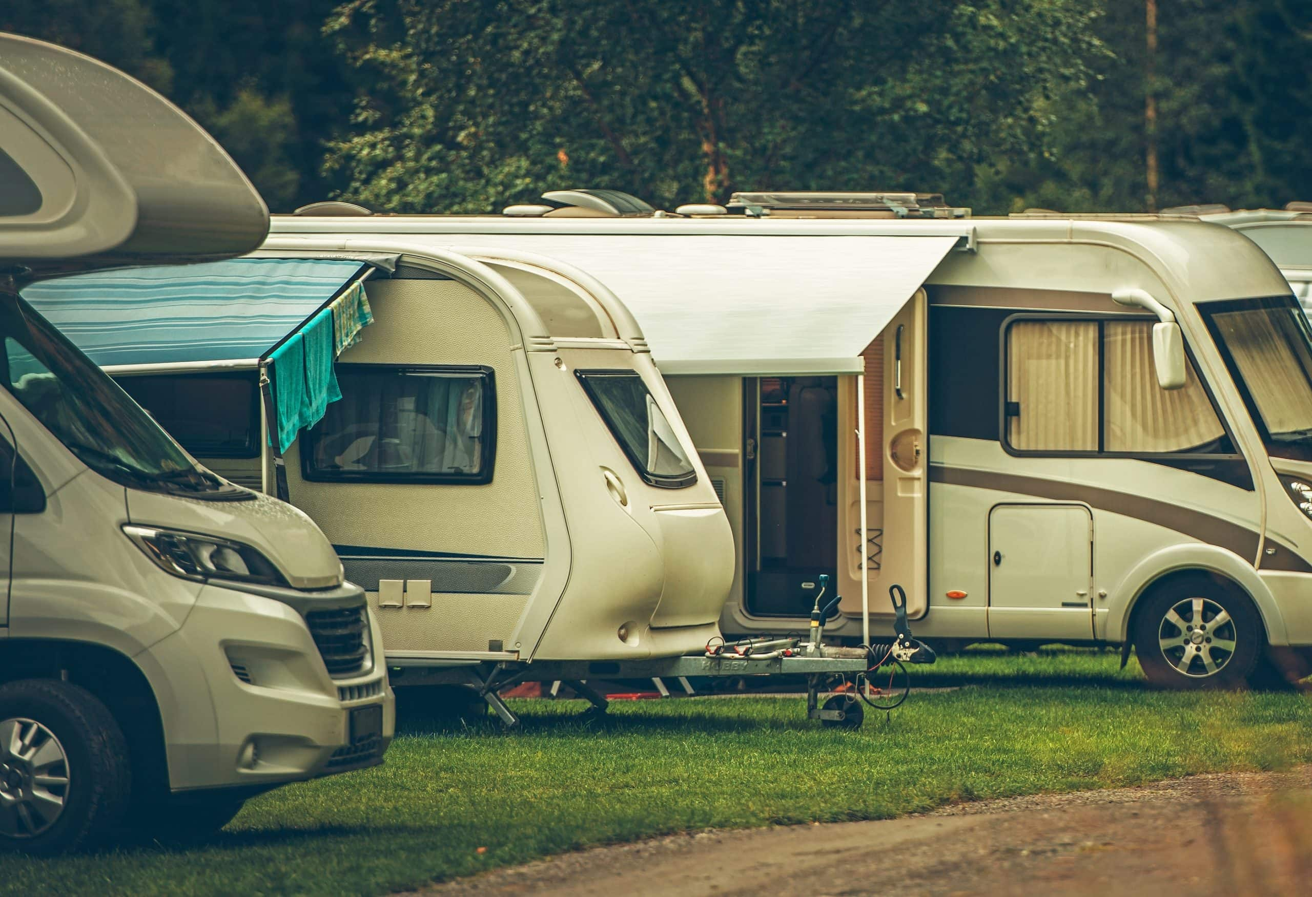 Rvs Parked Im A Row At Campsite
