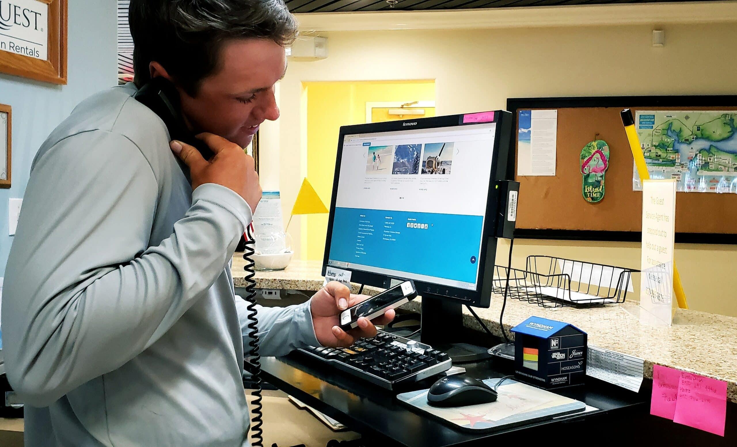 Man Looking At RV Dealership Software